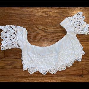 Tops - Lace off the shoulder crop top